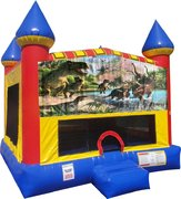 Dinosaurs 4 Inflatable bounce house with Basketball Goal