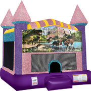 Dinosaurs 4 Inflatable bounce house with Basketball Goal Pink