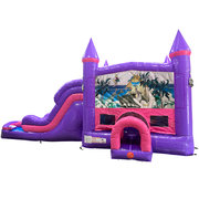 Dinosaurs Dream Double Lane Wet/Dry Slide with Bounce House