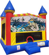 Dinosaurs Inflatable bounce house with Basketball Goal