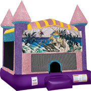 Dinosaurs Inflatable Bounce house with Basketball Goal Pink