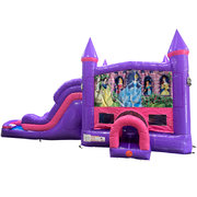 Disney Princess Dream Double Lane Wet/Dry Slide with Bounce House