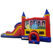 Disney Princess Double Lane Dry Slide with Bounce House