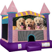 Dogs Inflatable Bounce house with Basketball Goal Pink