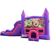 Donuts Dream Double Lane Wet/Dry Slide with Bounce House