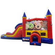 Donuts Double Lane Water Slide with Bounce House