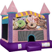 Donuts Inflatable Bounce house with Basketball Goal Pink