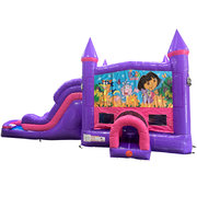 Dora Dream Double Lane Wet/Dry Slide with Bounce House