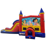 Dora Double Lane Dry Slide with Bounce House