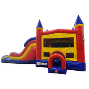 A Double Lane Water Slide with Bounce House