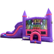 Play Games Dream Double Lane Wet/Dry Slide with Bounce House