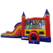 Play Games Double Lane Dry Slide with Bounce House