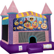 Emoji Bounce house with Basketball Goal (pink)