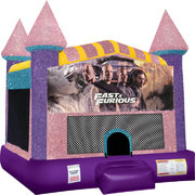 Fast and Furious Inflatable bounce house with Basketball Goal Pink