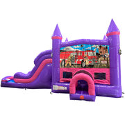 Firemen Dream Double Lane Wet/Dry Slide with Bounce House