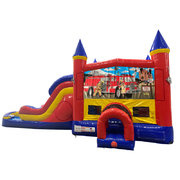 Firemen Double Lane Water Slide with Bounce House