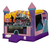 Firemen Fire Truck 4in1 Combo Bouncer Pink