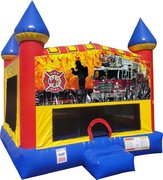 Firemen Fire Truck Inflatable bounce house with Basketball Goal