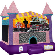 Firemen Fire Truck Inflatable bounce house with Basketball Goal Pink