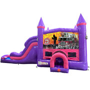 Firemen Fire Truck Dream Double Lane Wet/Dry Slide with Bounce House