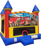 Firemen Inflatable bounce house with Basketball Goal