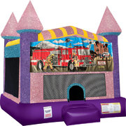 Firemen Inflatable bounce house with Basketball Goal Pink