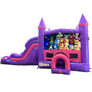 Five Nights of Freddy Dream Double Lane Wet/Dry Slide with Bounce House