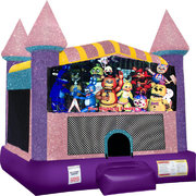 Five Nights of Freddy Inflatable bounce house with Basketball Goal Pink