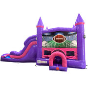 Football Dream Double Lane Wet/Dry Slide with Bounce House