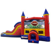 Football Double Lane Water Slide with Bounce House