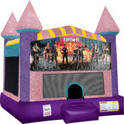Fortnite Inflatable bounce house with Basketball Goal Pink