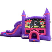 Gamer Dream Double Lane Wet/Dry Slide with Bounce House