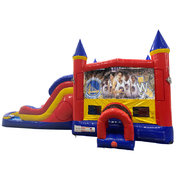 Golden State Warriors Double Lane Dry Slide with Bounce House