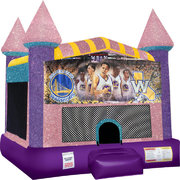 Golden State Warriors Inflatable bounce house with Basketball Goal Pink