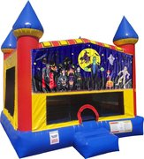 Halloween 2 Inflatable bounce house with Basketball Goal