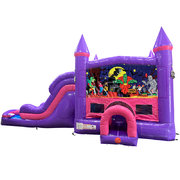 Halloween Dream Double Lane Wet/Dry Slide with Bounce House