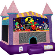 Halloween Inflatable bounce house with Basketball Goal Pink