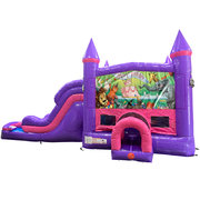 Happy Birthday Animals Dream Double Lane Wet/Dry  Slide with Bounce House