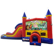 Happy Birthday Animals Double Lane Dry Slide with Bounce House