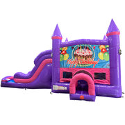 Happy Birthday Cake Dream Double Lane Wet/Dry Slide with Bounce House