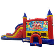 Happy Birthday Cake Double Lane Dry Slide with Bounce House