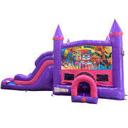 Happy Birthday Kids Dream Double Lane Wet/Dry Slide with Bounce House