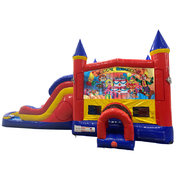 Happy Birthday Kids Double Lane Dry Slide with Bounce House