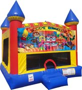 Happy Birthday Kids Inflatable bounce house with Basketball Goal