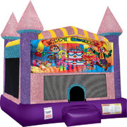 Happy Birthday Kids bounce house with Basketball Goal Pink