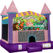 Happy Birthday Animals bounce house with Basketball Goal Pink