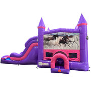 Horses Dream Double Lane Wet/Dry Slide with Bounce House
