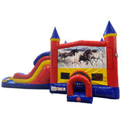 Horses Double Lane Dry Slide with Bounce House
