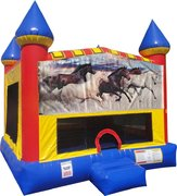 Horses Bounce house with Basketball Goal