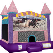 Horses Bounce house with Basketball Goal (Pink)
